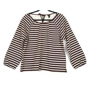 J Crew structured stripe keyhole blouse top A0238